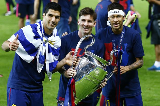 Suarez, Messi and Neymar with Champions League