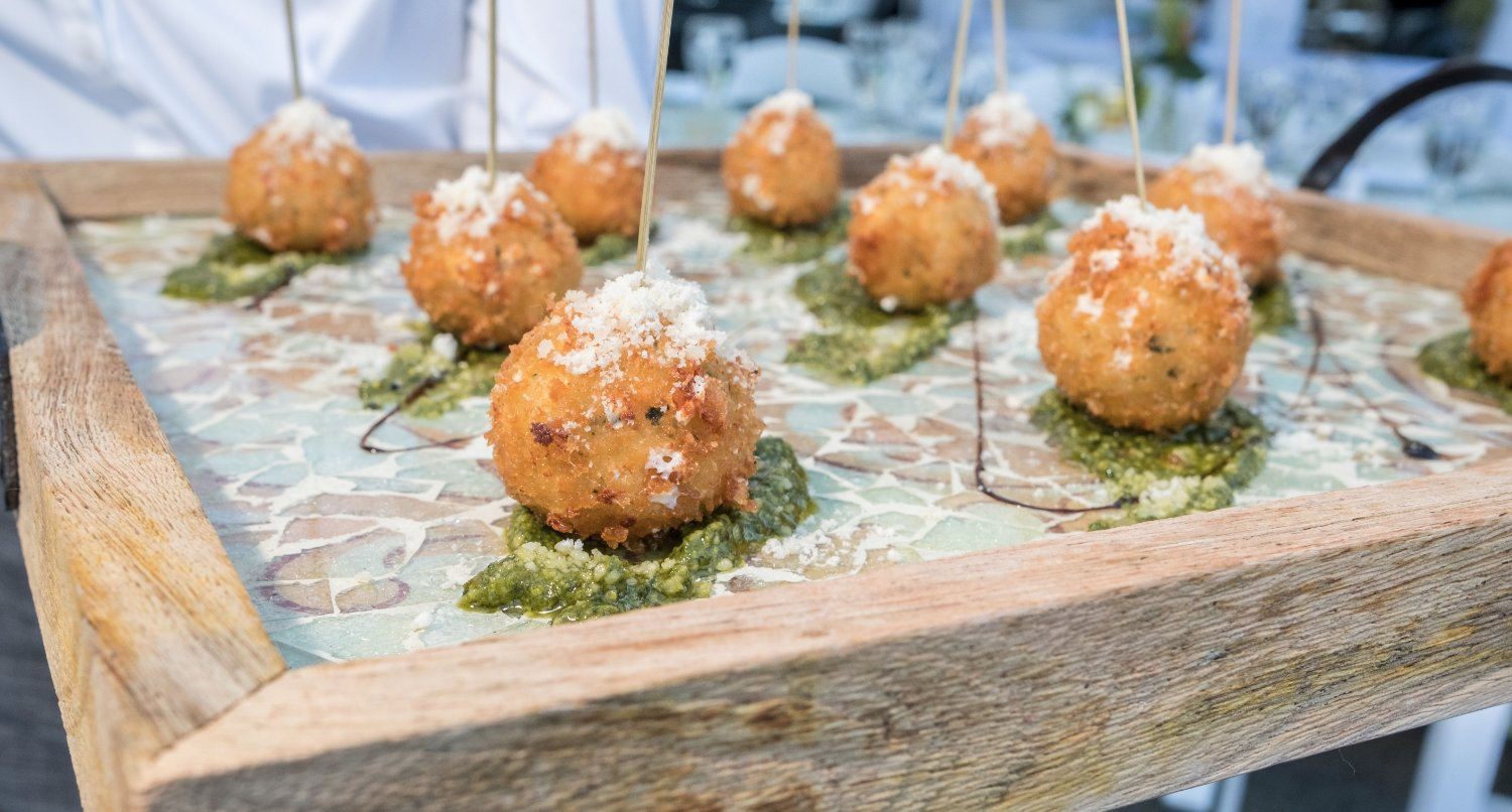 Passed Smoked Mozzarella Arancini with Pesto