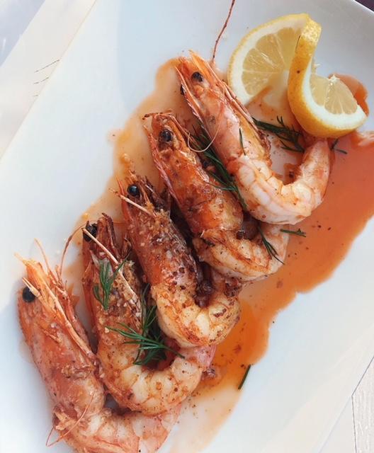 prawns from oinoa wine bar