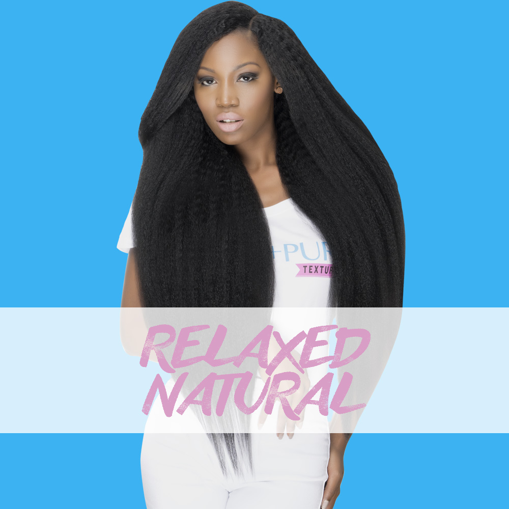 Relaxed Natural Natural Hair Extensions  Definitely not your average Kinky Straight. This custom created Kinky Straight hair is intangibly natural looking and full of body and life! A perfect mirroring of natural hair that has been blow-dried straight. This magically easy to manage texture minimizes the need for you to over press your hair to achieve awesome blending. Beautiful in its natural state, Braid outs, or flat ironed. Available in Virgin hair  bundles ,  clip ins,   closures  and  lace wigs .