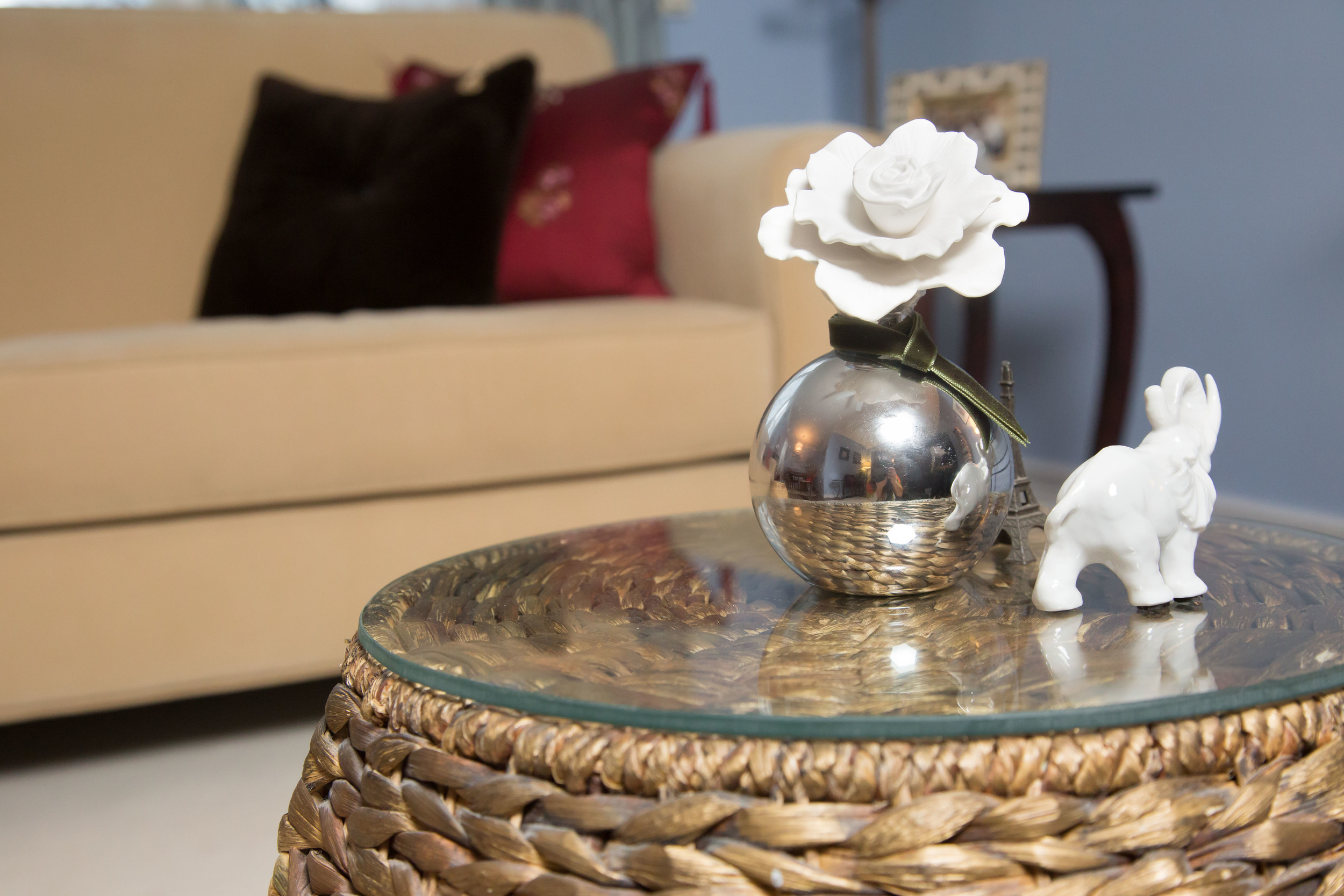 When staging incorporate a lovely mild scent to the home by using creative diffusers.  This canister with porcelain flower provides a touch of elegance.