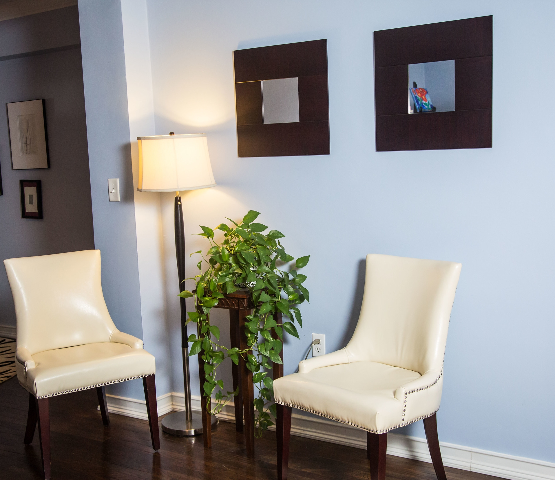 When staging items such as lamps, chairs and plants can add to a space without taking up a lot of room.