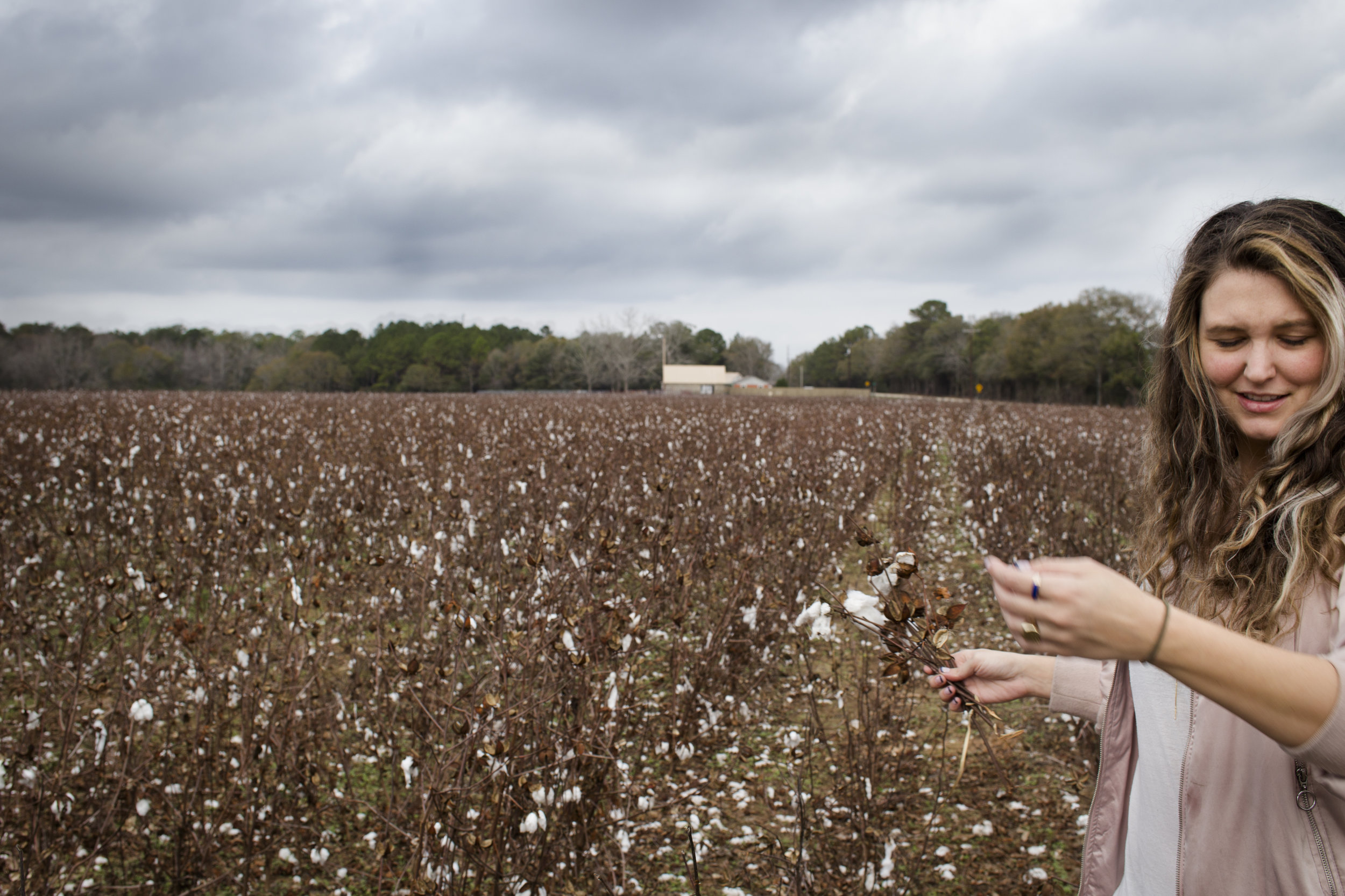 Clark among the cotton fields in Opp, Alabama, December 28, 2016