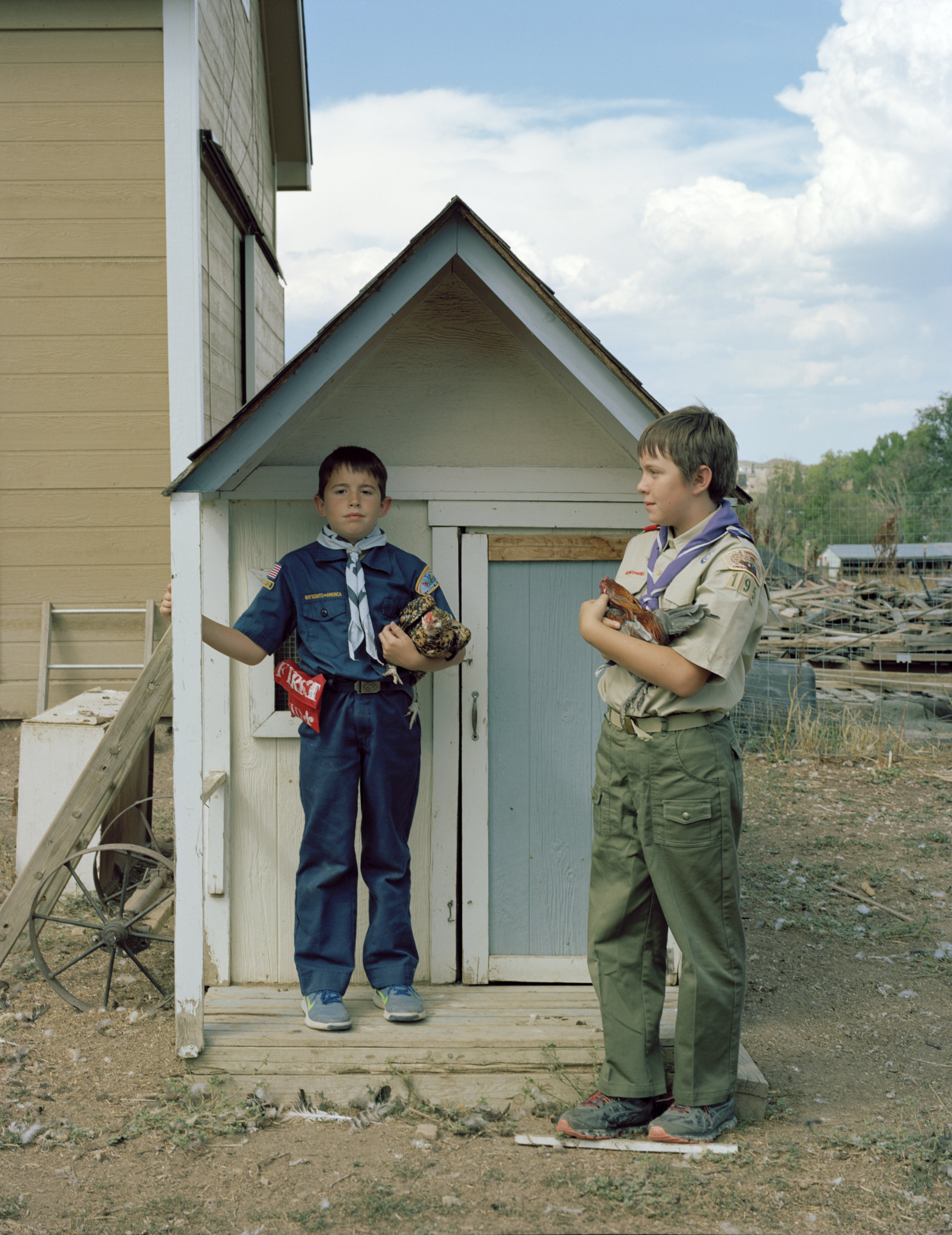 Indiana and his older brother Rowan on their aunt's farm in Fort Collins, colorado. The two belong to Troop 195, a co-ed International Boy Scouts troop focused on inclusivity and equality, August 28, 2016.