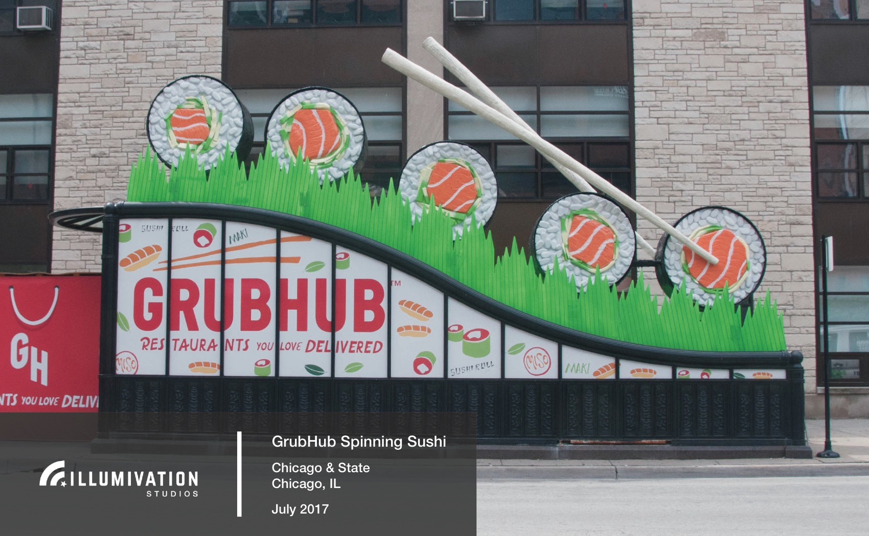 Illumivation Portfolio 2017 Grubhub Intersection Giant Sushi Chicago Creative Outdoor Advertising OOH Out of Home Marketing.jpeg