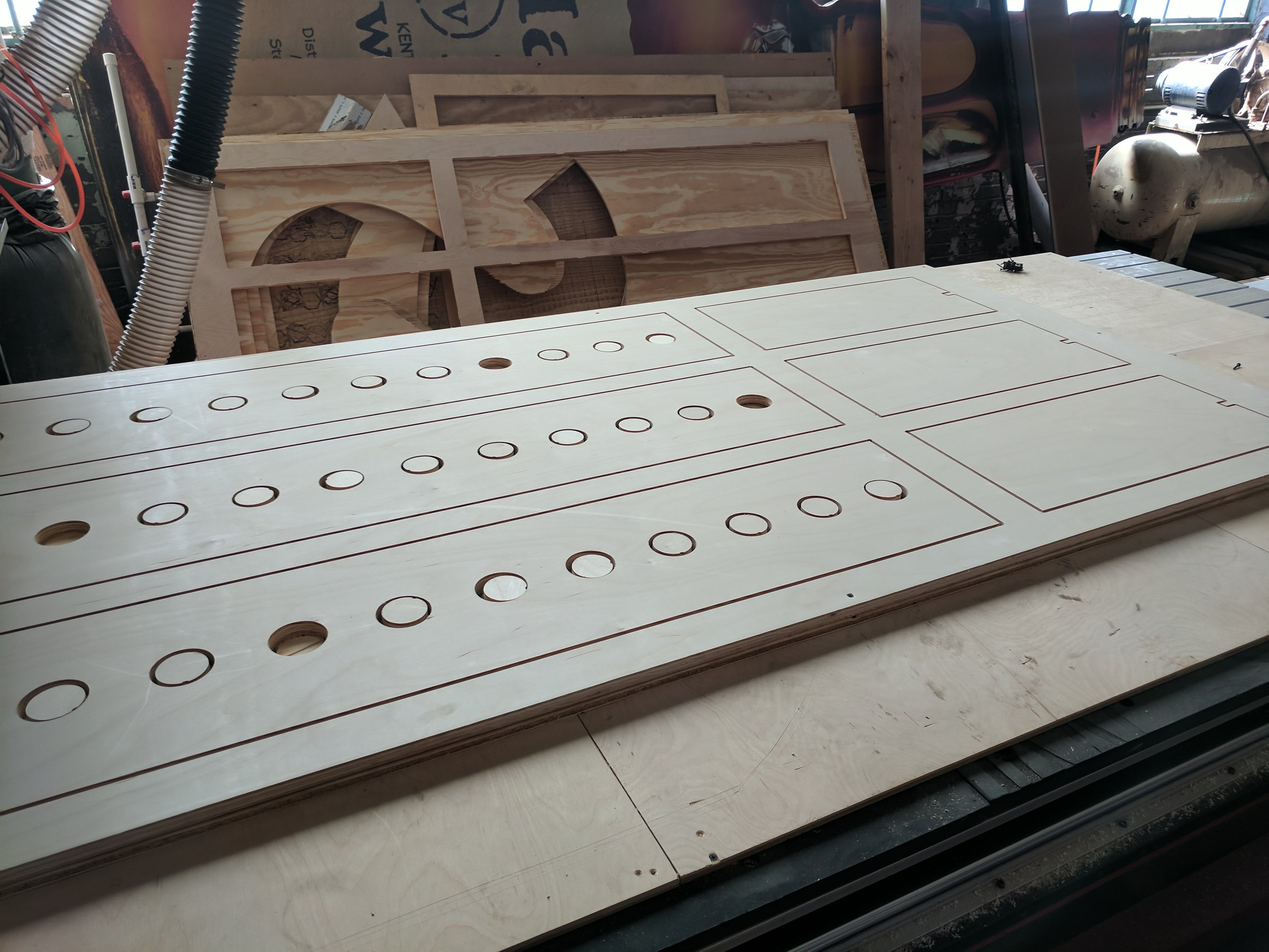 Tea table tops and sides have been CNC'd