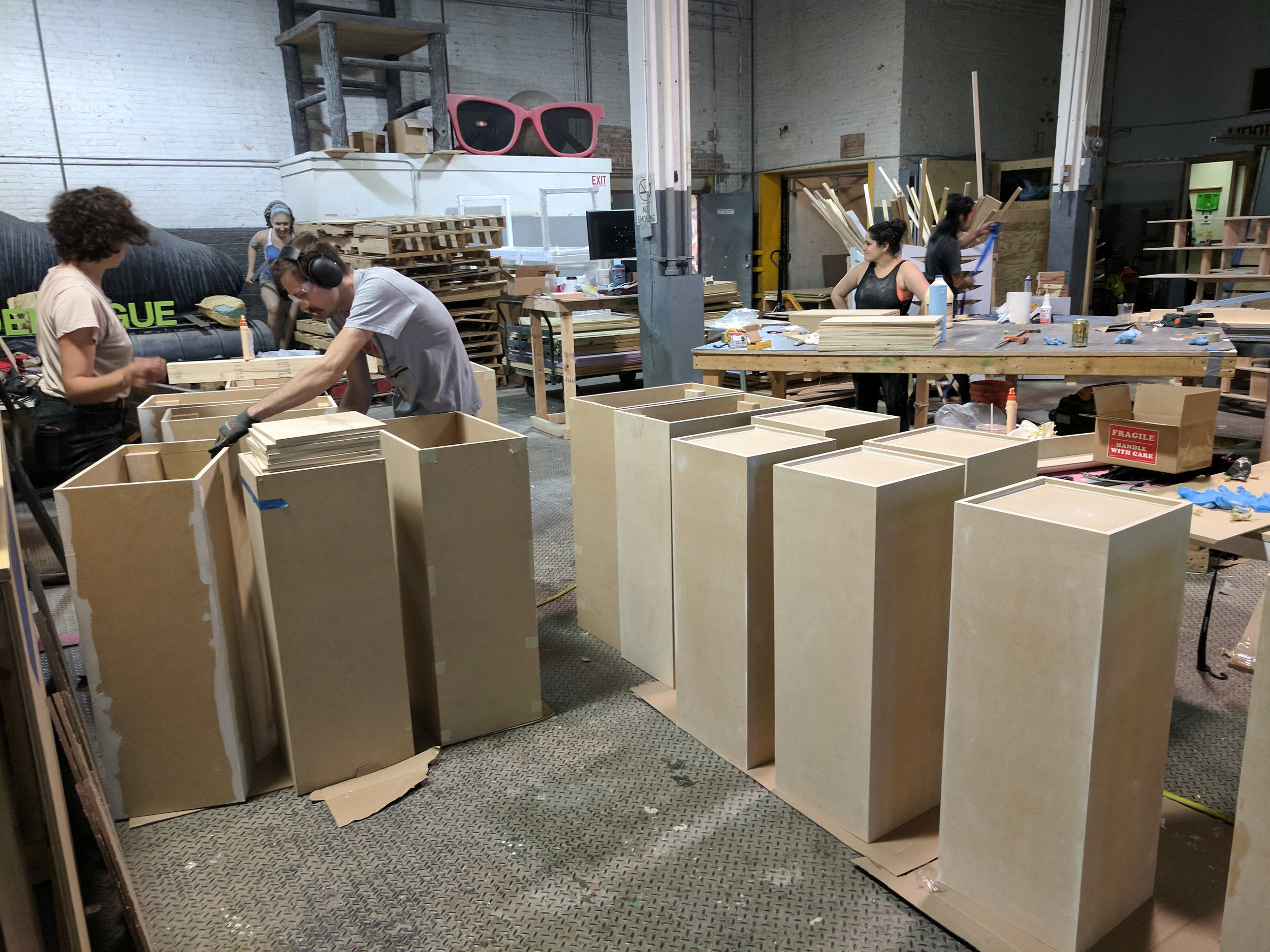 Pedestals getting prepped for sanding and paint.