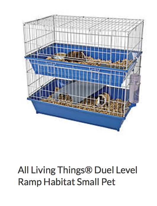All Living Things Dual Level Ramp Habitat Small Pet - it is ok size wise, not the best, but would be hard to fit good entertainment in here and cleaning would be difficult.
