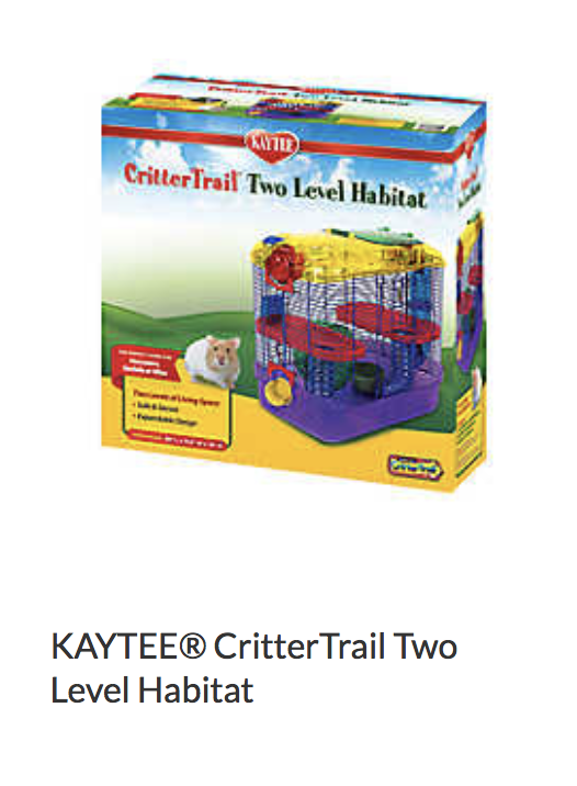 Kaytee CritterTrail Two Level Habitat - Not appropriate size wise for rats. Fine as a carrier if wheel is removed.