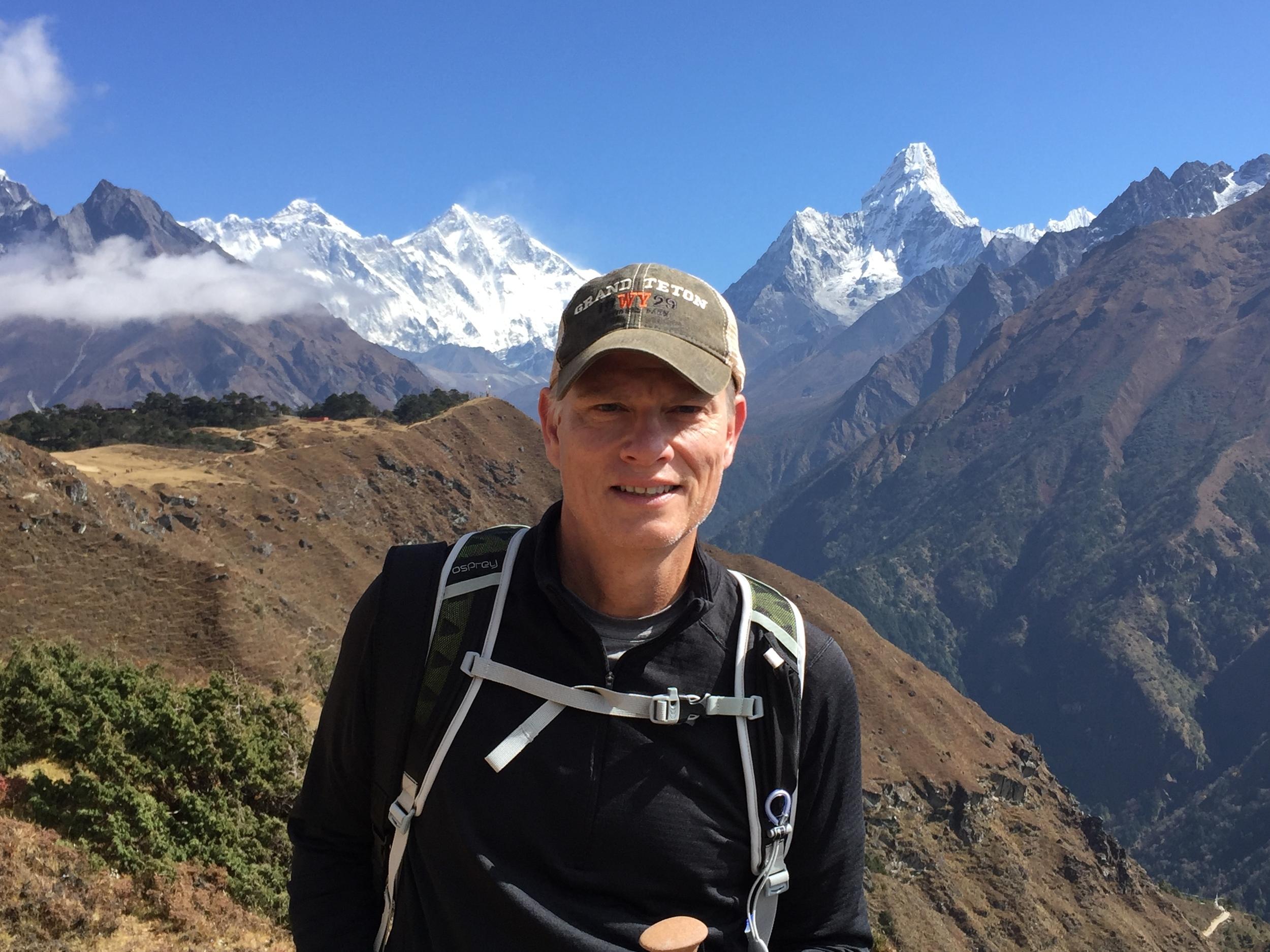 October, 2015, on the Everest Base Camp trek. Magnificent Aba Dablam lurks over my shoulder.