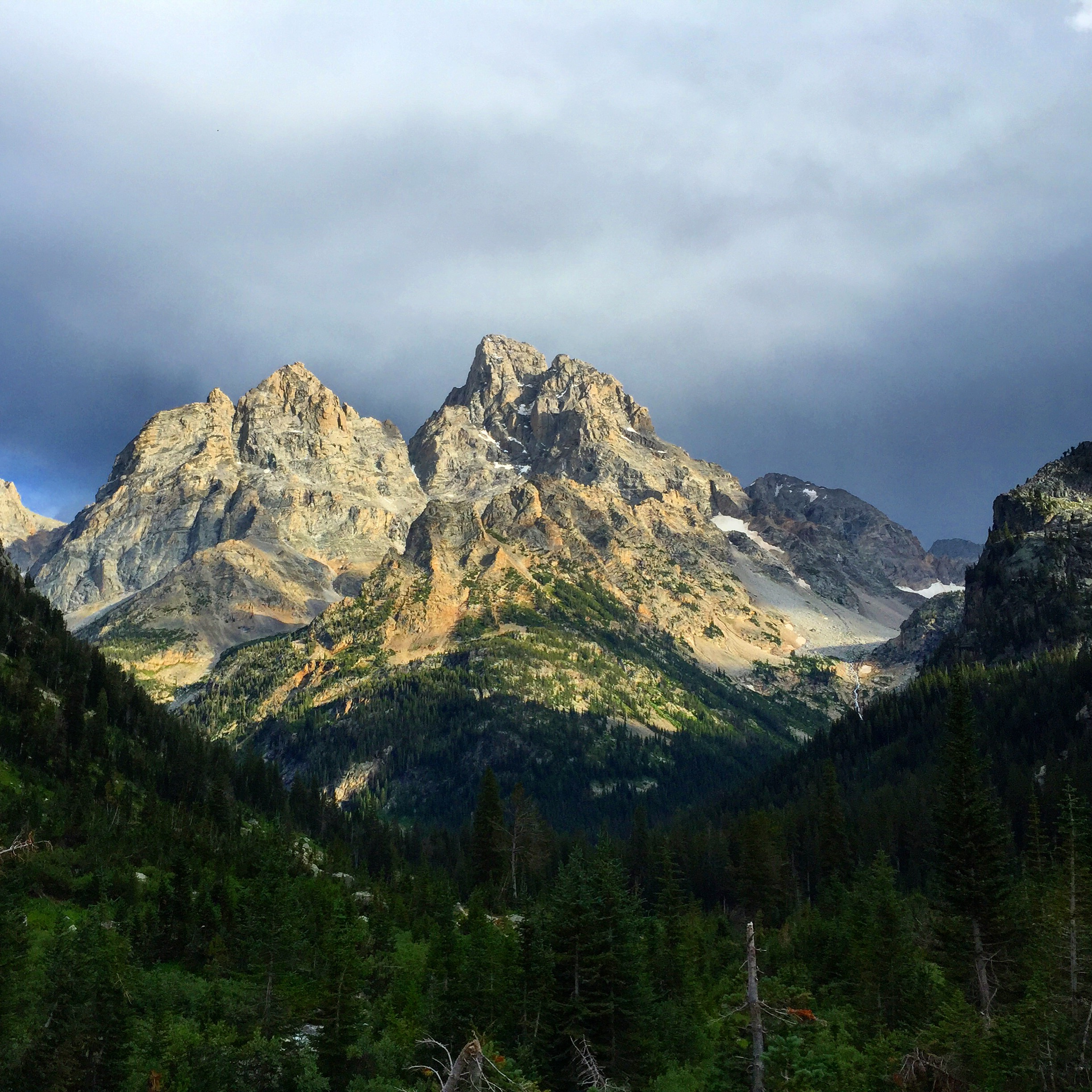 The view from my campsite in North Fork looking at Grand Teton.