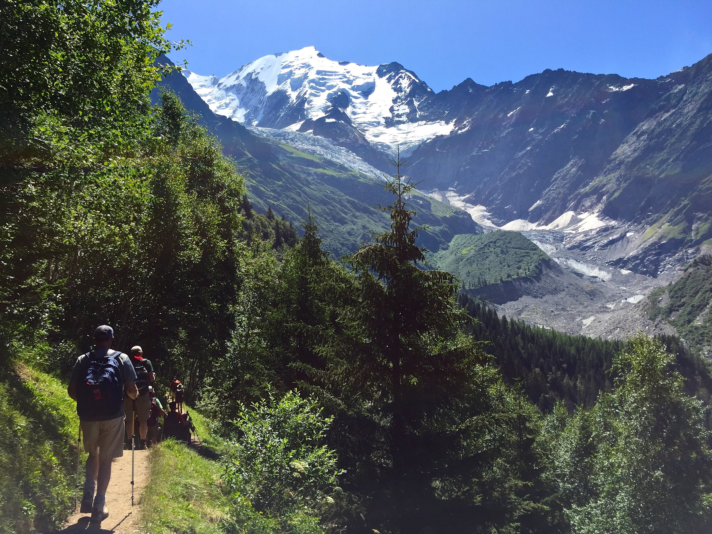 First day, hiking under the Mont Blanc massif.