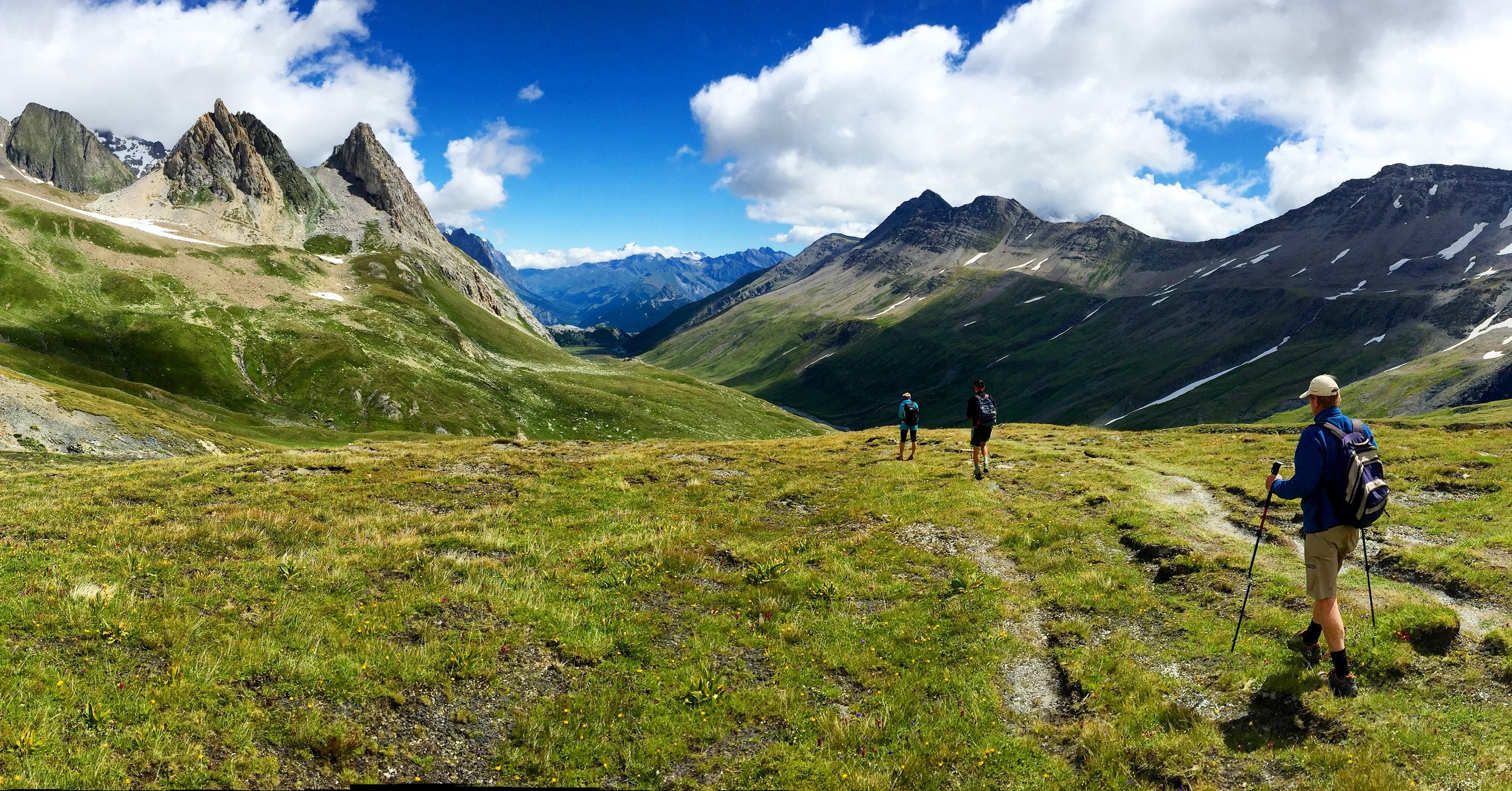 Having just crossed over Col de la Seigne, we hike down into Italy and a nice pasta dinner.