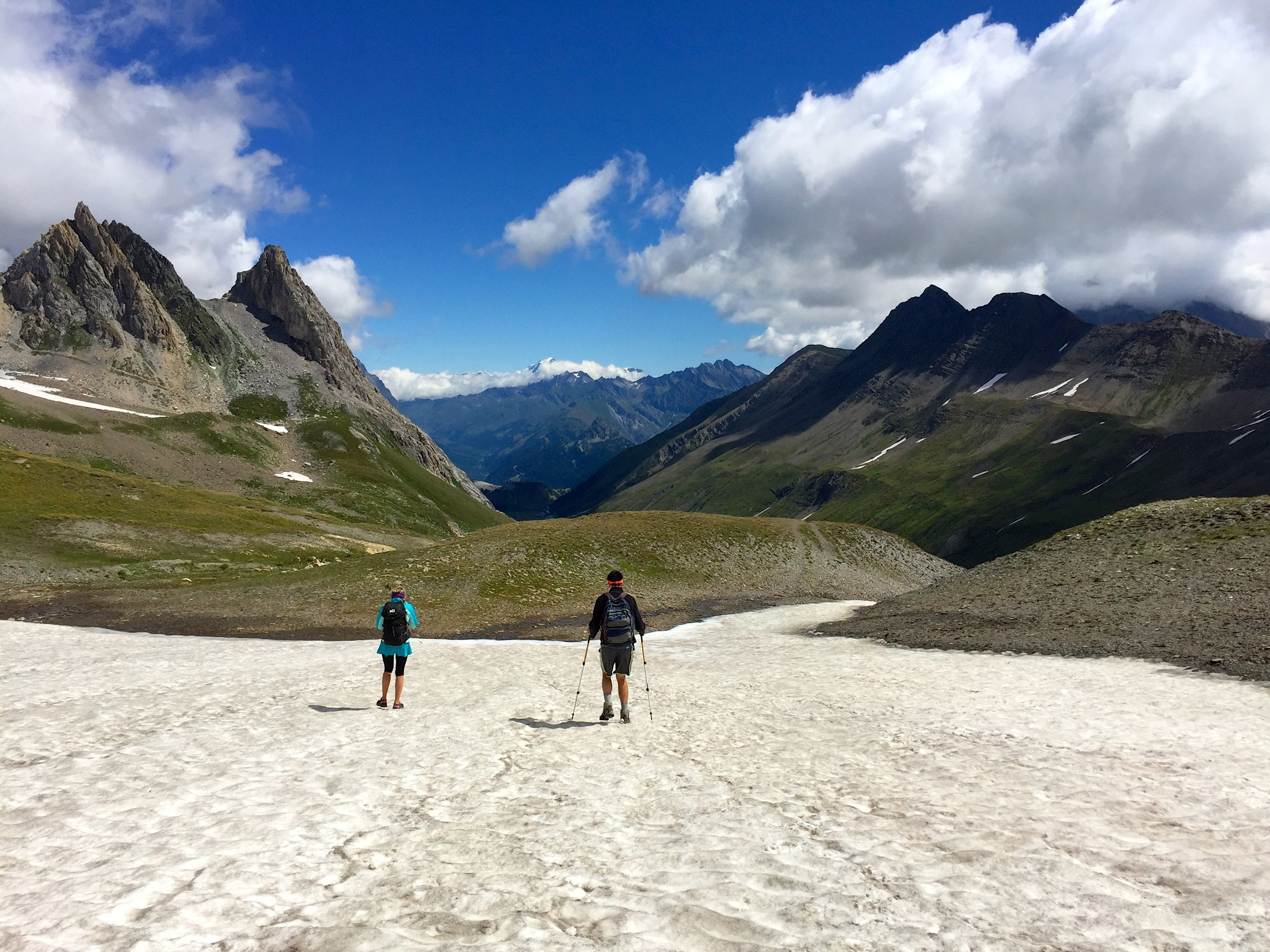 Even in August you encounter a few snowfields near the passes. This is just past Grand Col Ferret.