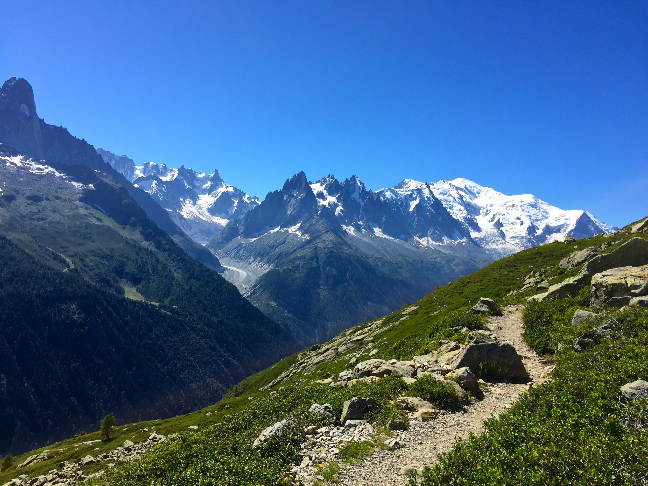 Mont Blanc on the right. Chamonix sits in the valley below.