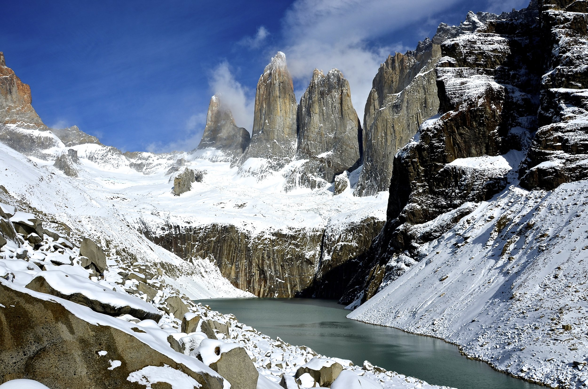 The famous towers which Torres del Paine National Park is named after.