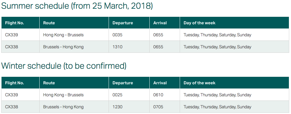 Cathay Pacific Brussels Schedule