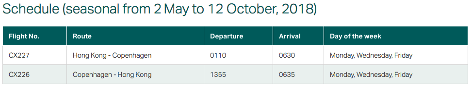 Cathay Pacific Copenhagen Schedule