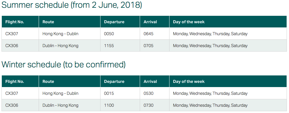 Cathay Pacific Dublin Schedule