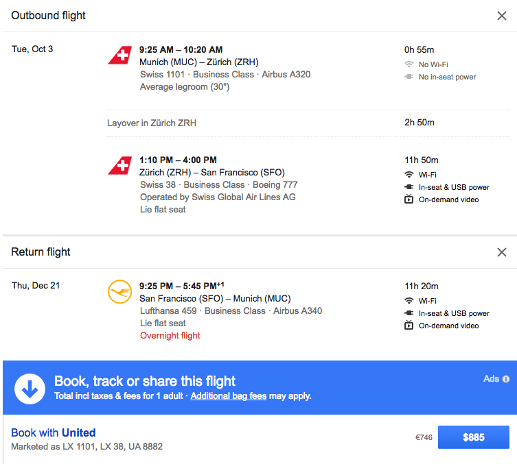 Here's an example of booking at $885 .