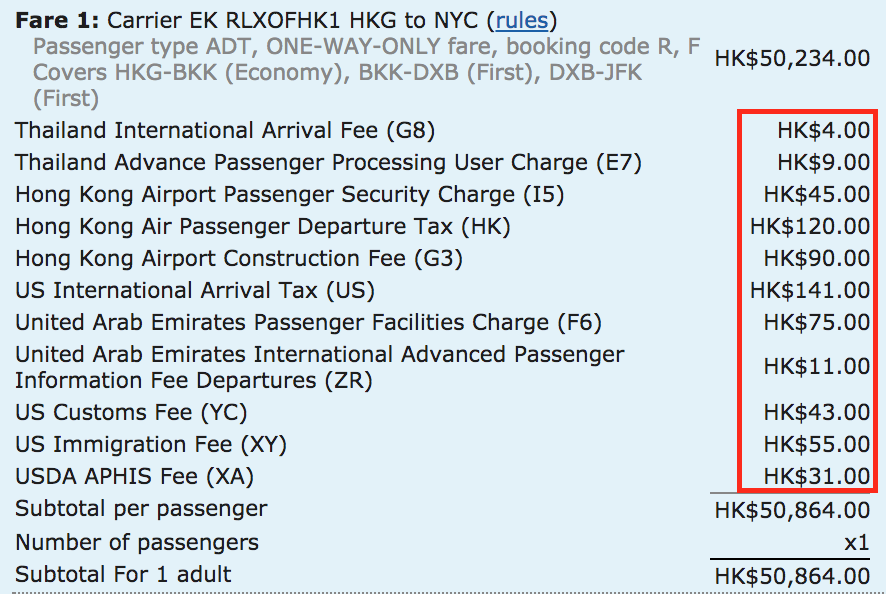 You'll notice there aren't any surcharges (YQ) listed, unlike the the JFK to DXB route.