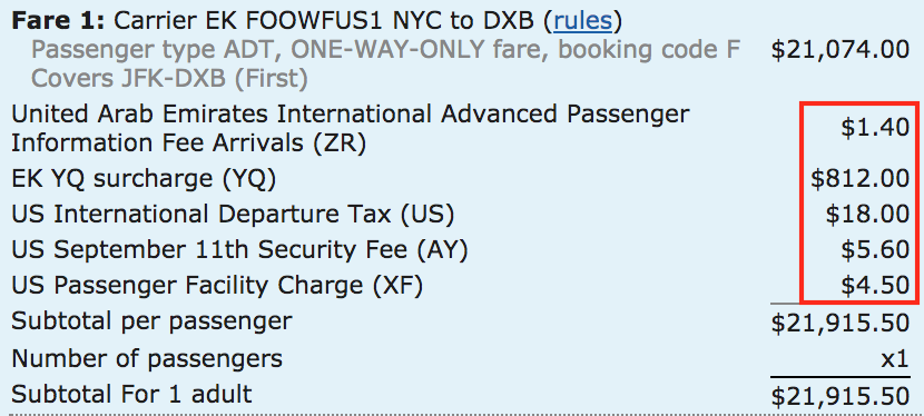A one-way first class ticket on Emirates will incur over $800 in surcharges (YQ).