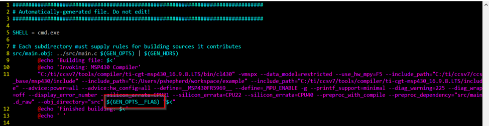 GEN_OPTS__FLAG  is included in the automatically generated compile step in the  subdir_rules.mk  file.