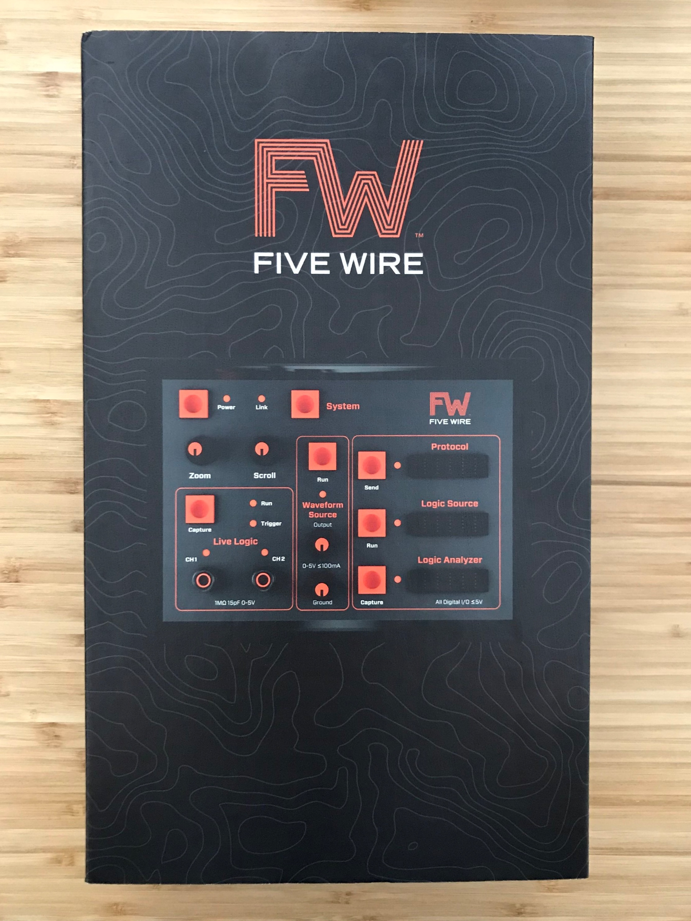 The FiveWire ships in a nice sturdy box. The art is kept on a sleeve which slides off.