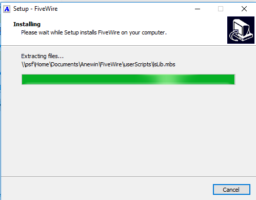 FiveWire uses the familiar Windows installer.