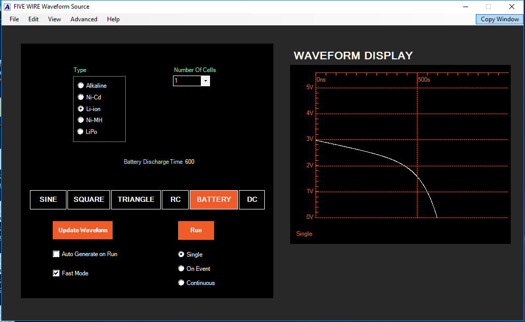 The Waveform Source can be used to configure a battery discharge profile.