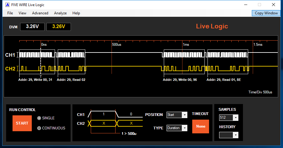 LiveLogic was used to capture and decode I2C traffic. Channel 1 is SCK, and Channel 2 is SDL.