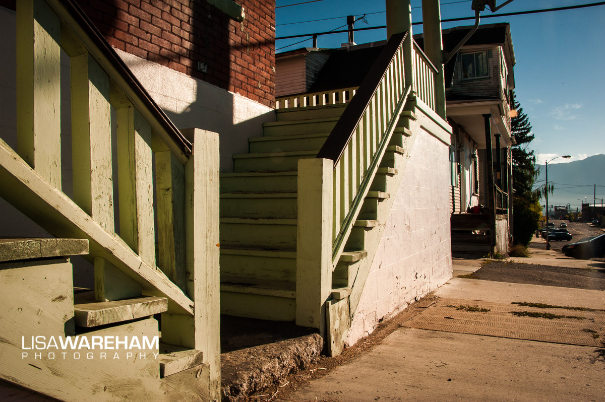 """These stairs are next to the """"old teddy bear"""" house (next building down). The socks and pants were hanging camera left."""