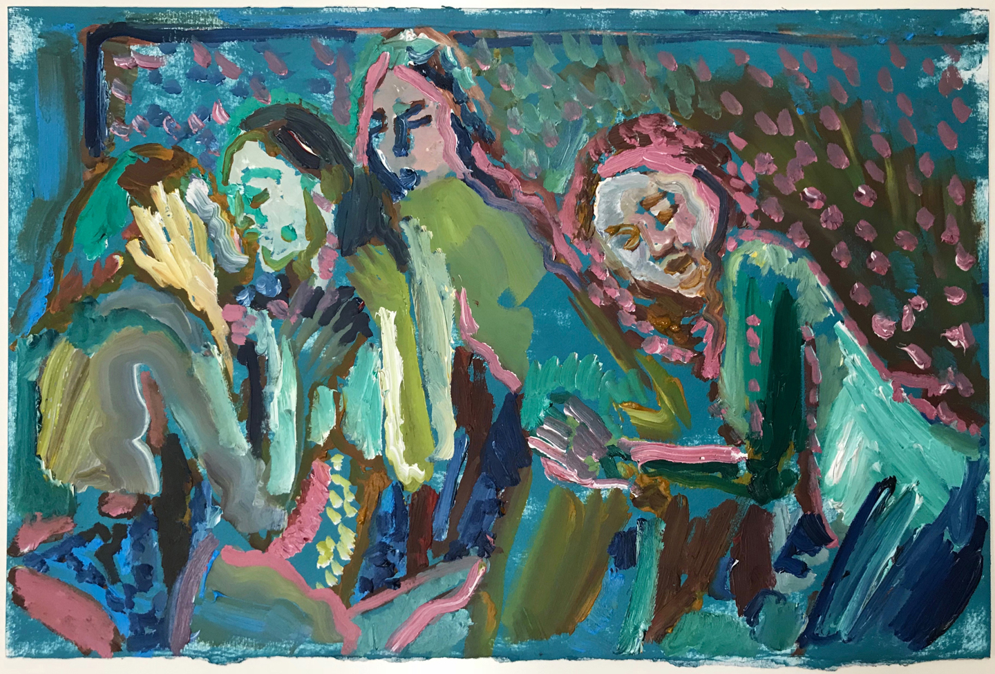 Study for Foursome 2   oil on paper  12 x 18 inches  2018