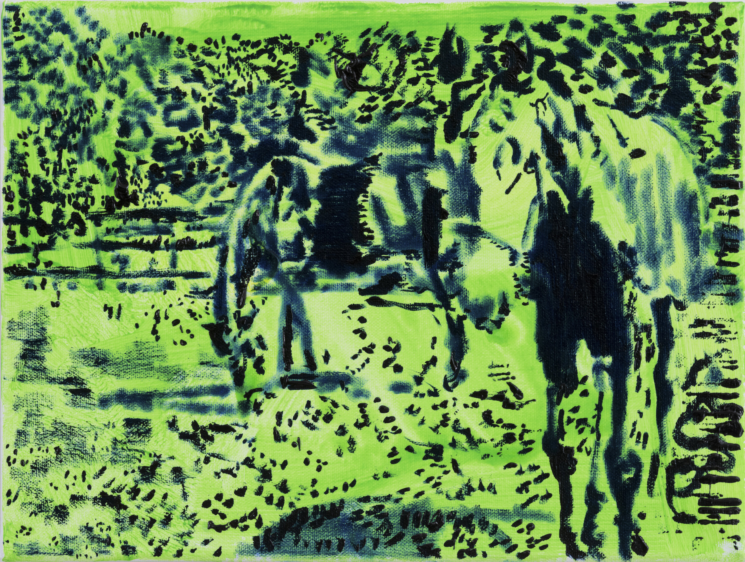 Neon Horse 1 (small)  oil and acrylic on canvas  9 x 12 inches  2019