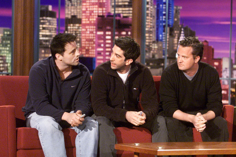 """Getty Images. Matt LeBlanc, David Schwimmer and Matthew Perry on """"The Tonight Show with Jay Leno"""" at the NBC Studios in Los Angeles, October 16, 2001."""