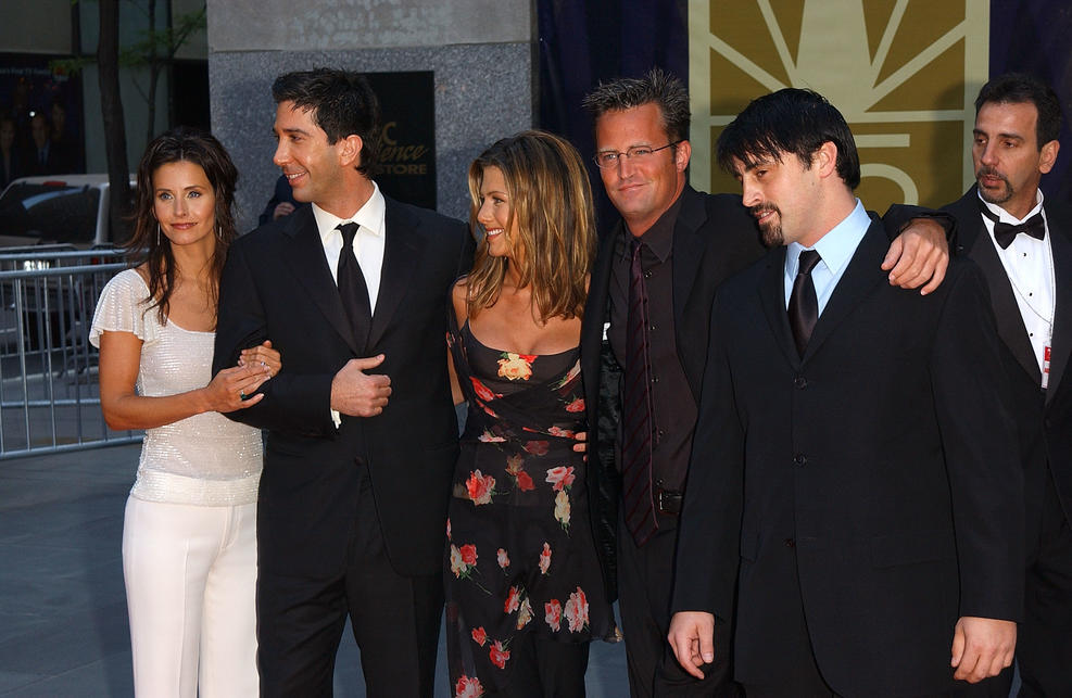 """Getty Images. The cast of """"Friends"""" arrive for NBC's 75th Anniversary Special May 5, 2002 at Rockefeller Center in New York City."""