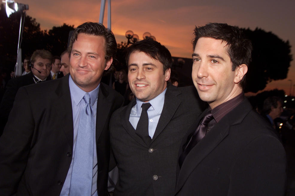 Getty Images. Left, Matthew Perry, Matt LeBlanc and David Schwimmer arrive at the 28th Annual People's Choice Awards held at the Pasadena Civic Auditorium in Los Angeles, Jan. 13, 2001.