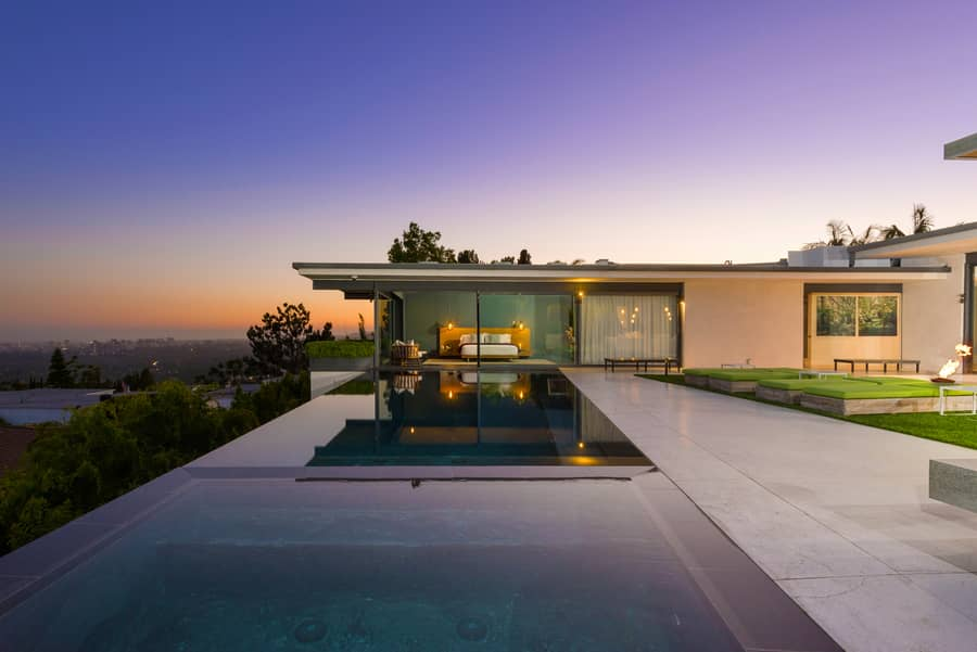 The home offers views from Downtown L.A., to Century City and the ocean.
