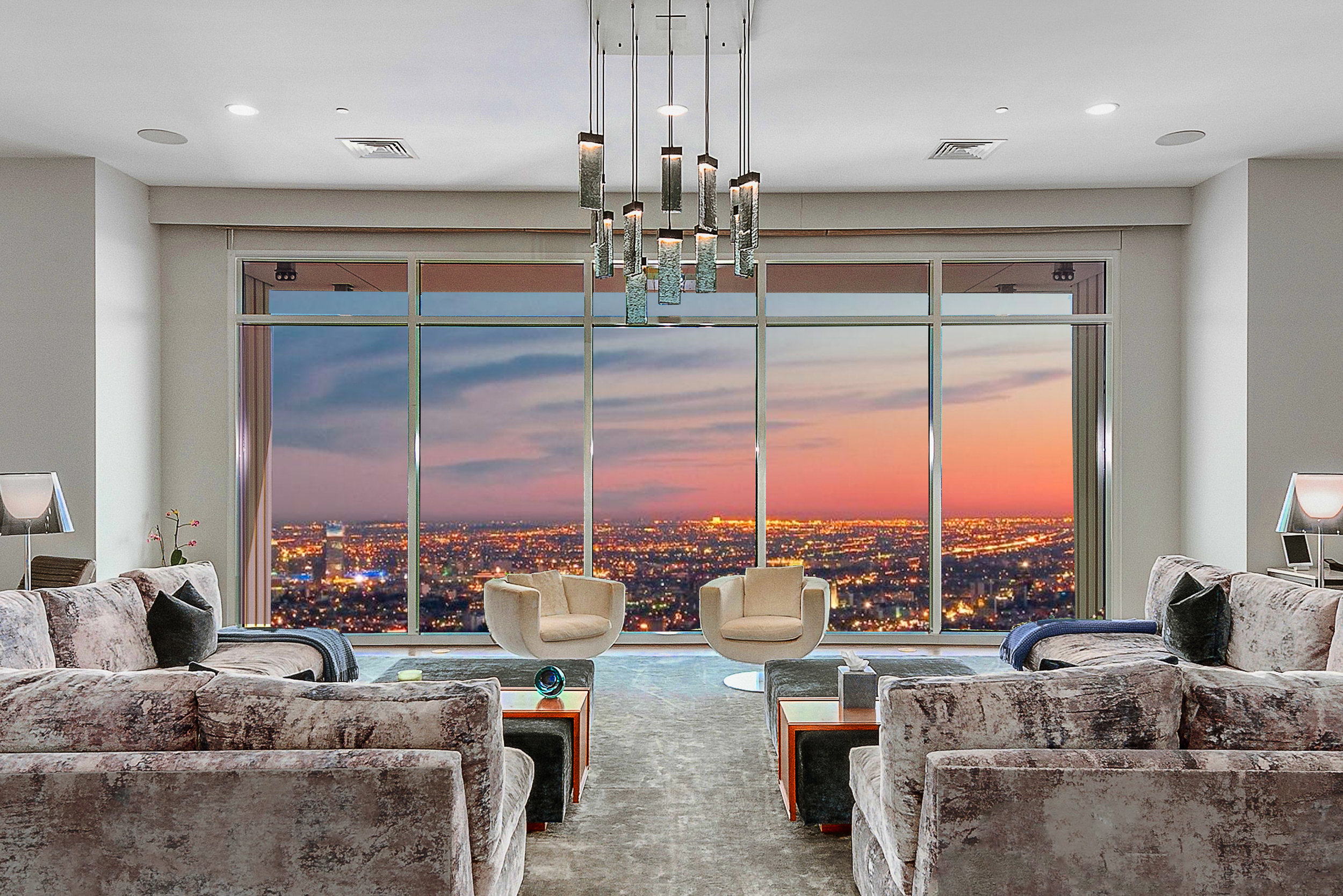 The 9,300-square-foot, full-floor penthouse of actor Matthew Perry features four terraces, an oversized living room and a new plush top screening room.  (Michael McNamara / Jason Speth)