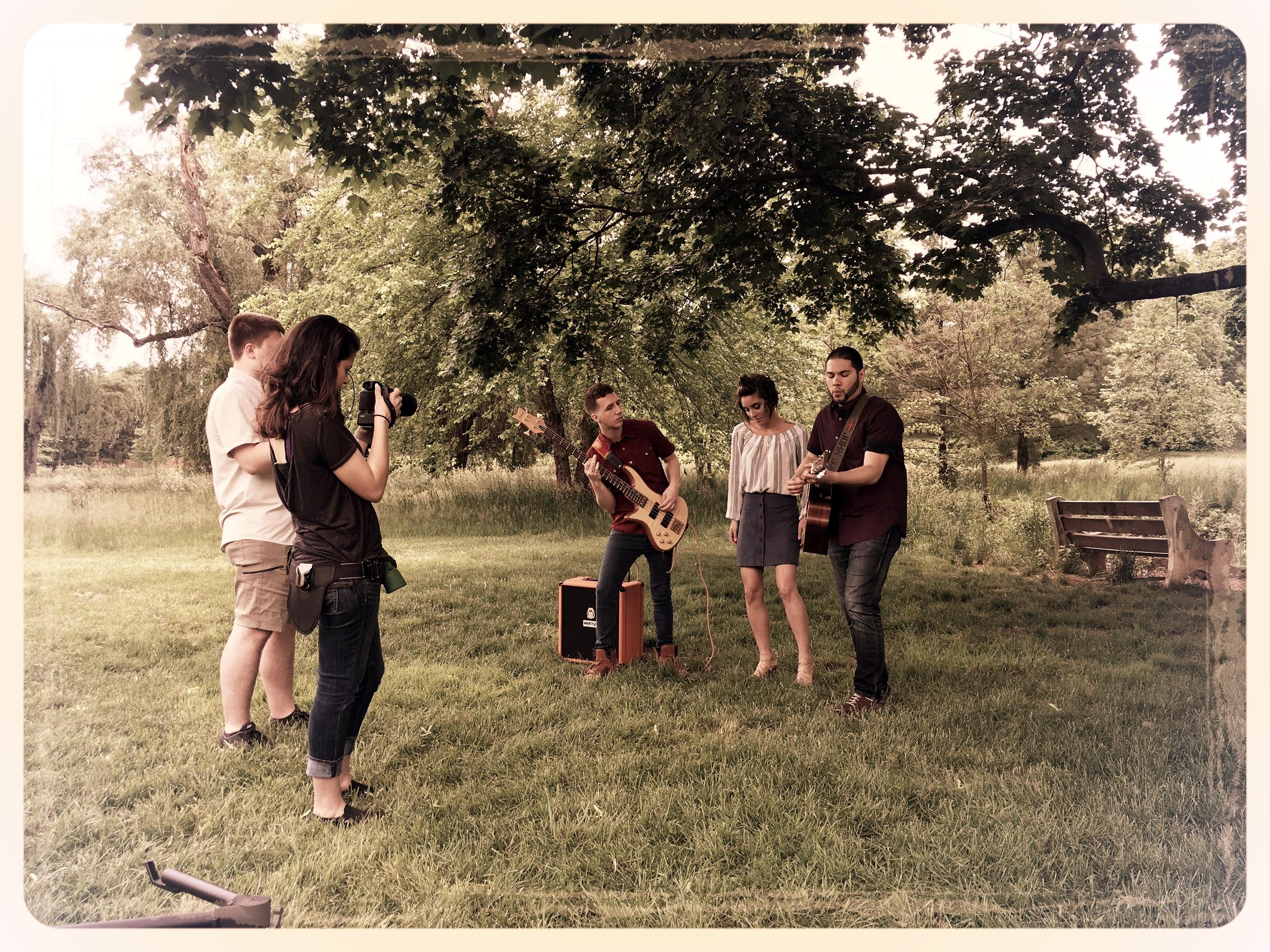 Clay & Kristen filming at Cedar Beach Park.