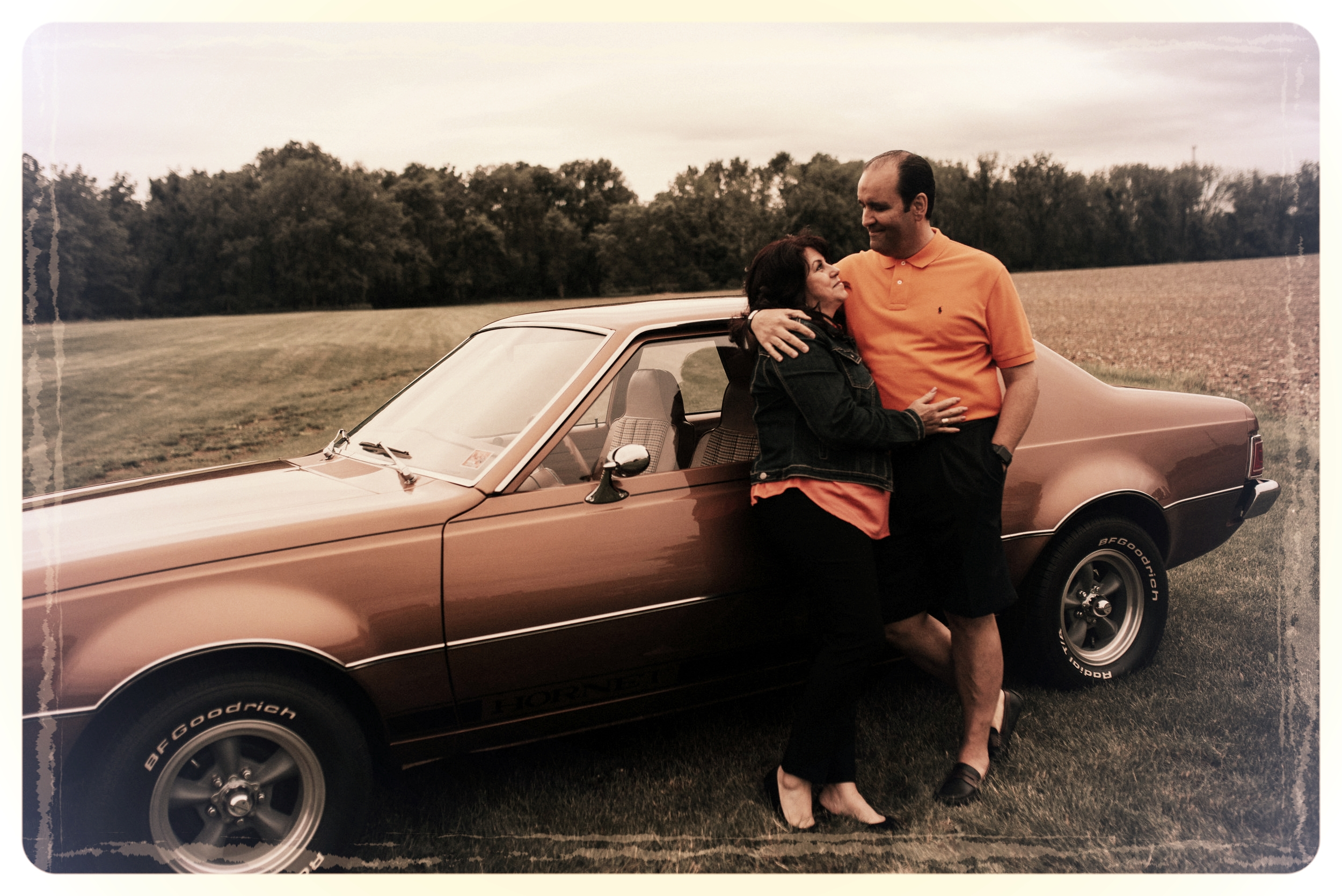 Mary & Alex, the older couple in the story, posing for a quick picture next to the 1973 AMC Hornet on set of the video shoot.