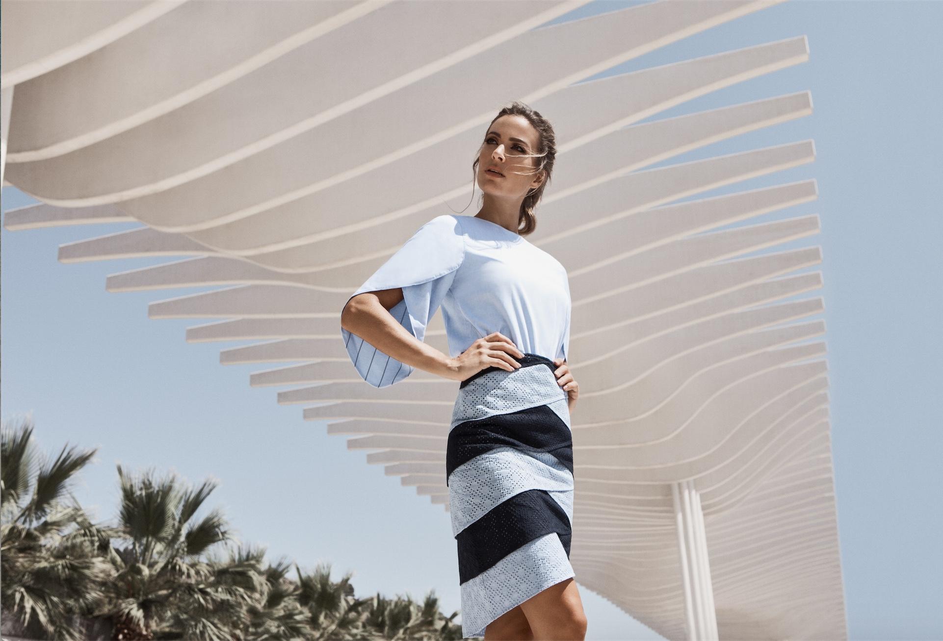 Shell Sleeve Top / Weave Skirt