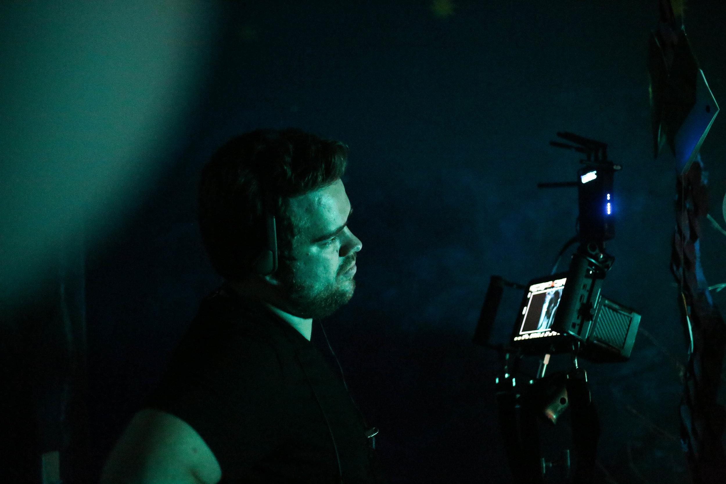 Producer Adam Bradshaw on set at Andromeda. Photo credit Di Wei.