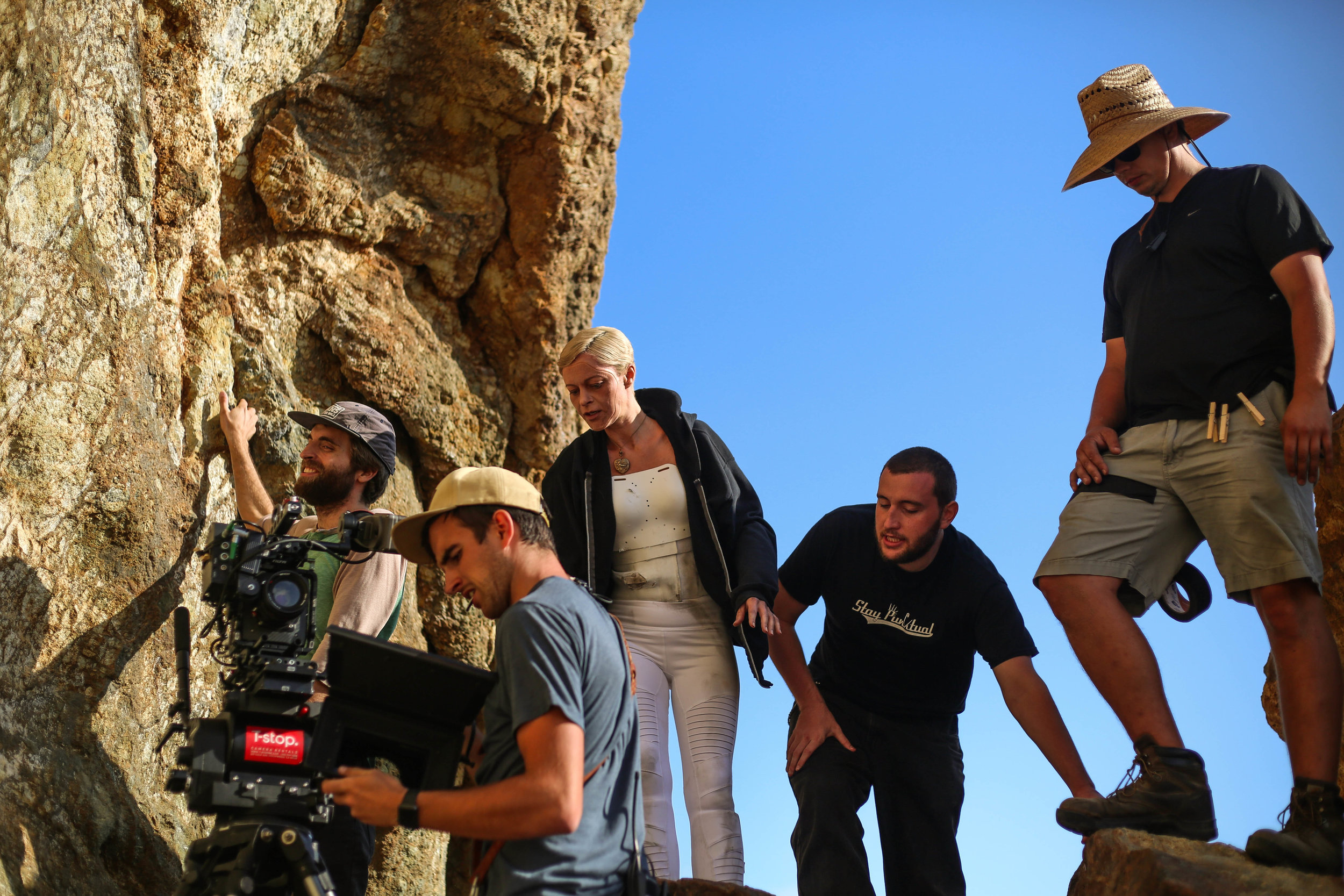 Camera, Grip and stunt crew on set. Photo credit Di Wei.