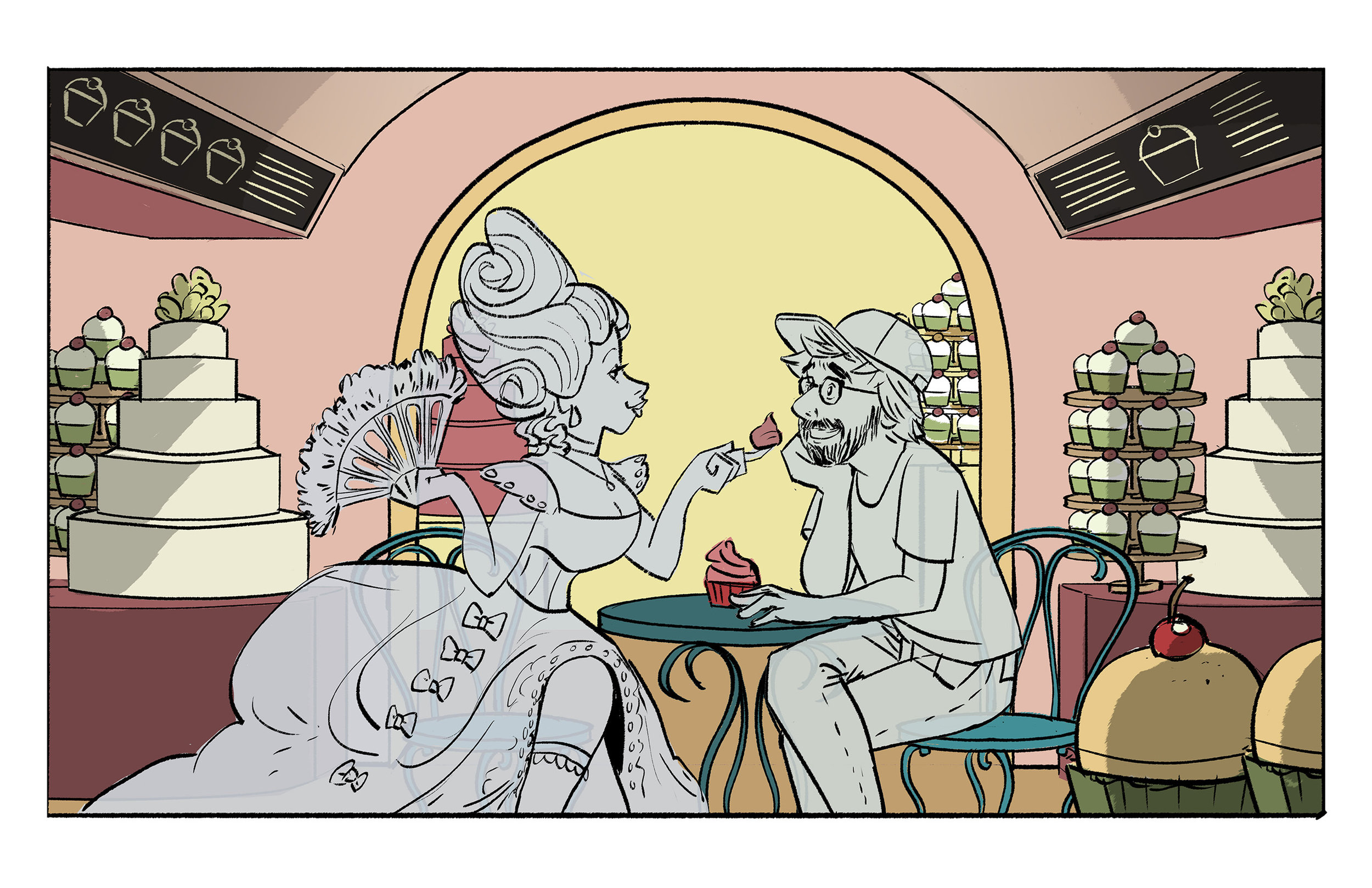 An after hours romantic date between Ghost Marie Antoinette and Ghost Fogel.