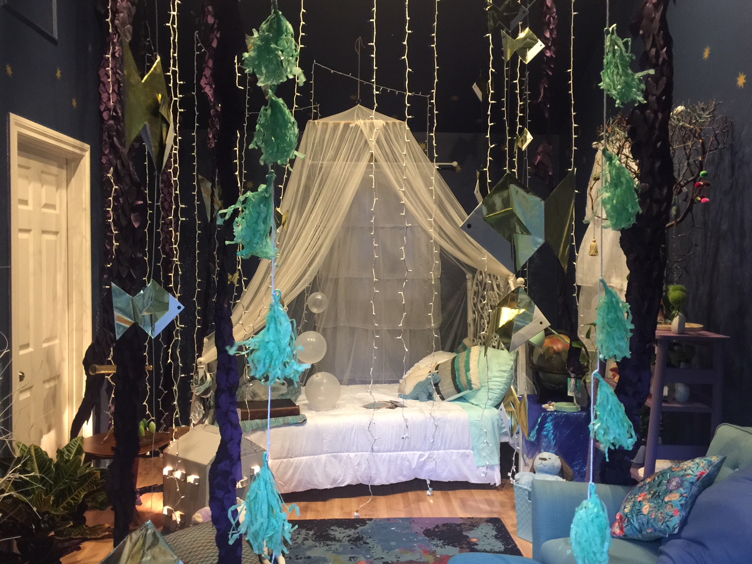 The completed set of Ella's Room. Set Decoration by Set Decorator   Adrienne Garcia   and Propsmaster / Art Department Assistant   Nak Yong Choi  .