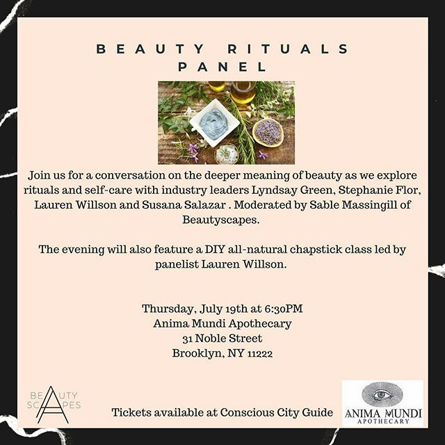 Thrilled to be joining fellow global beauty pioneer, @beautyscapesco for an enlightening panel in NYC this week! If you'll be in the area, please join us for a discussion on beauty rituals and self-care secrets. Thank you to @animamundiherbals for welcoming us into the apothecary. (We've been following the brand for years now and FINALLY get to see their sacred space in person!) We hope to see you there!