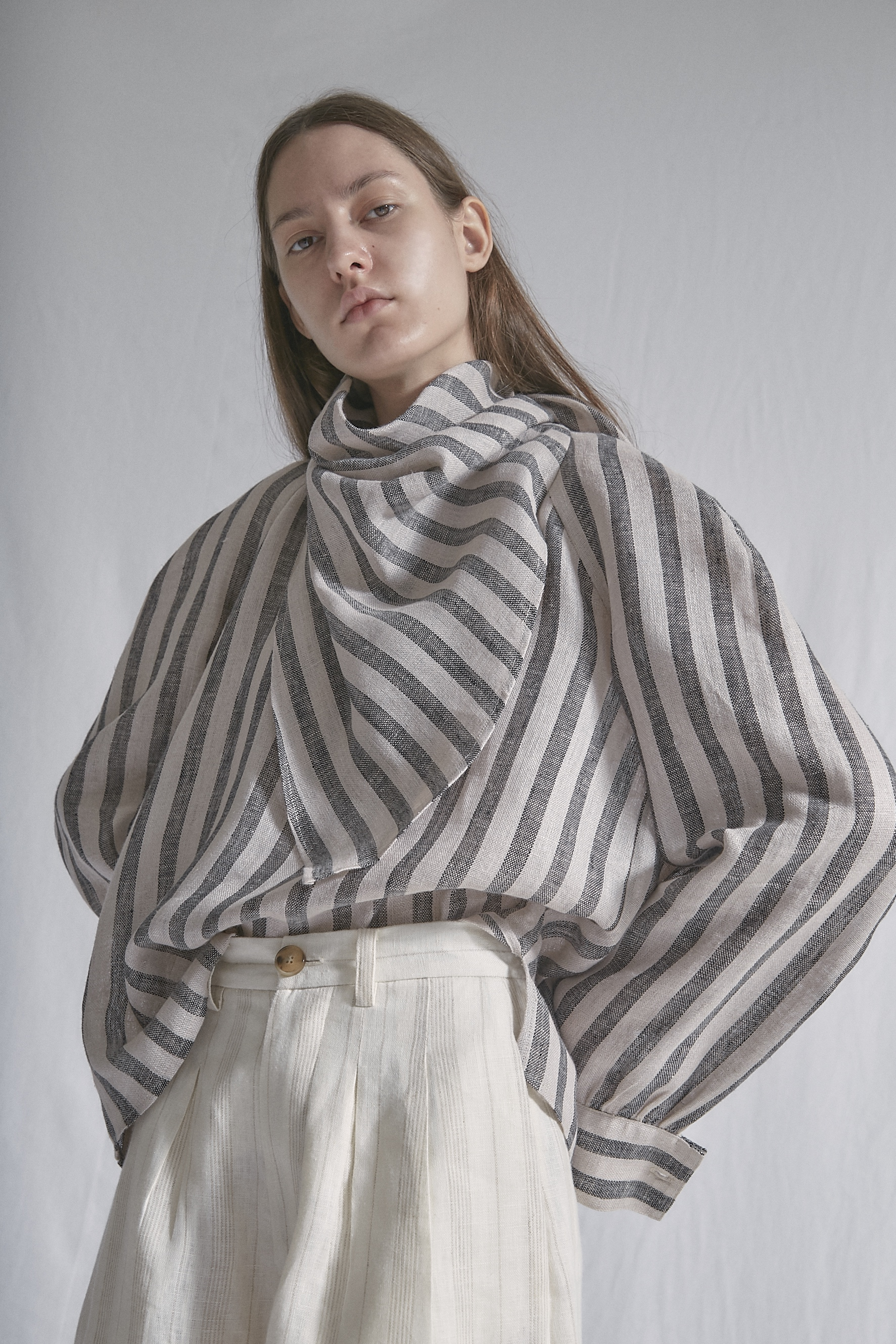 KLEE   scarf blouse in stripe linen and   TELLER   high—waisted shorts
