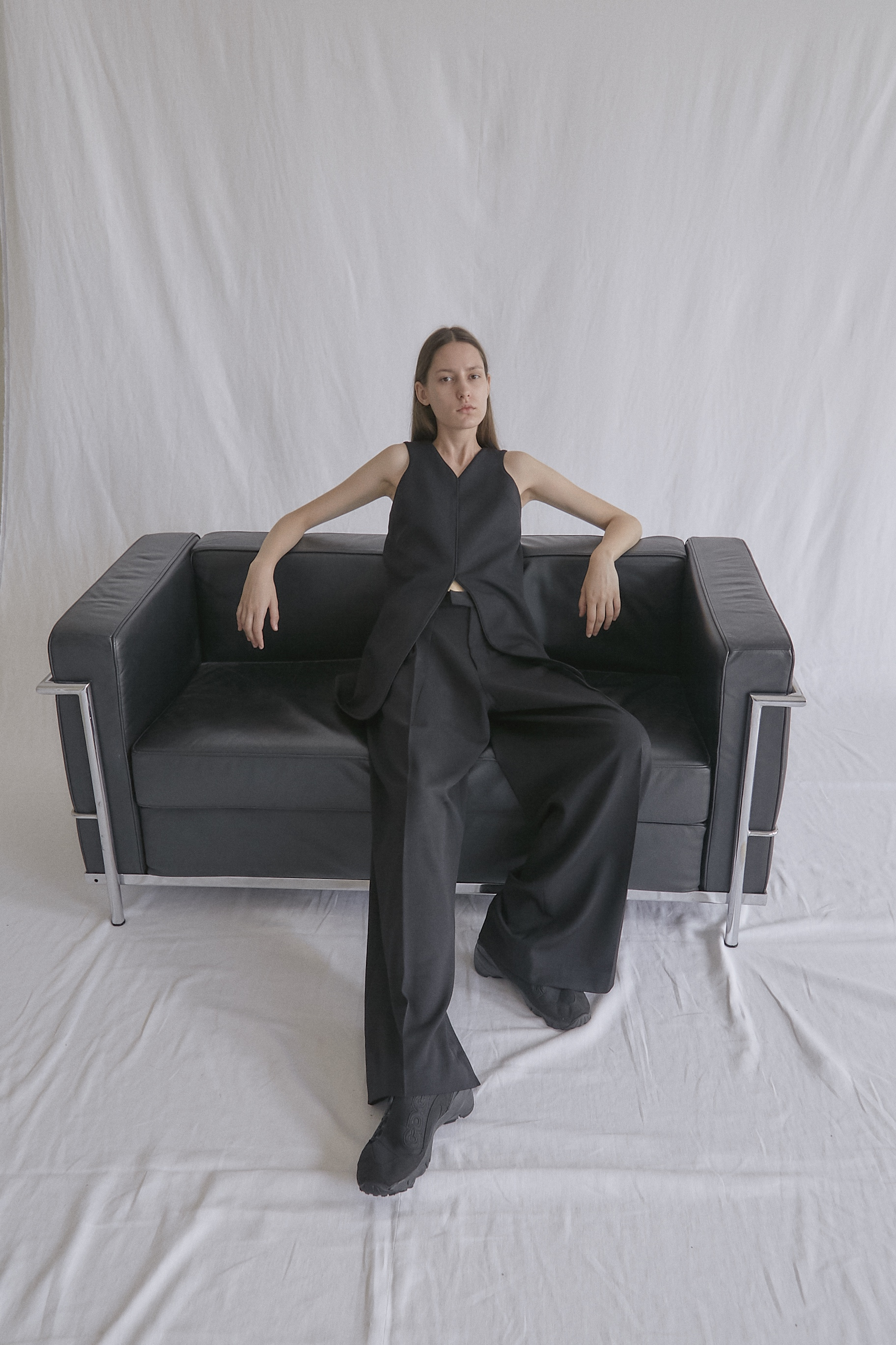 ALBERS   vest and   IWAO   wide—leg trousers