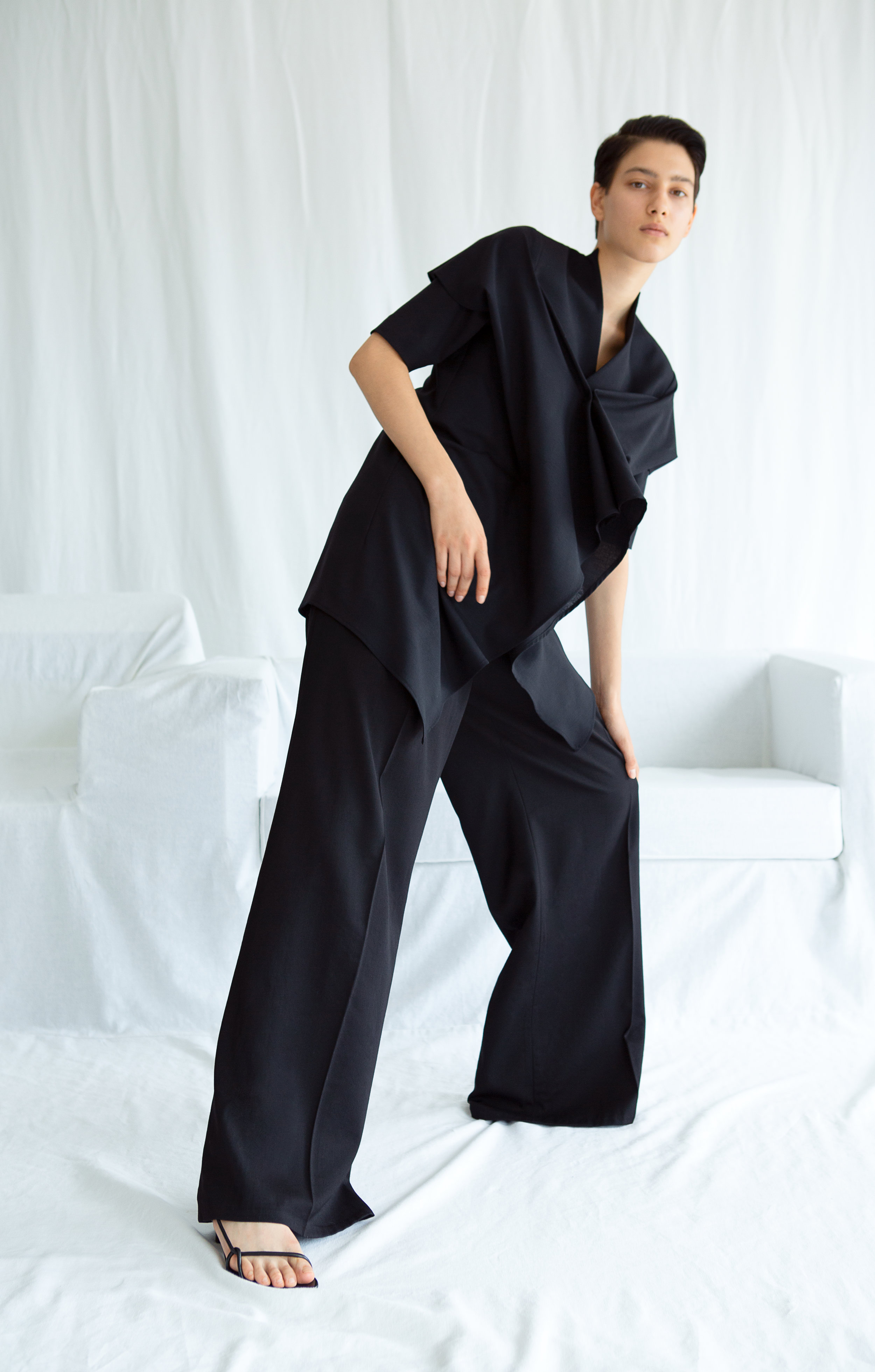 STILL   gathered wool blouse and   IWAO   wide—leg trousers